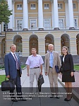 А.S.Filatyev, ICAO EC member, V.P. Shkodyrev, Head of International Cooperation Department, Anders Gustafsson and interpreter. The Smolny Palace is behind