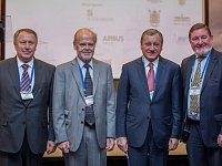 Participants of the Second-Day ICAS Plenary Meeting from left to right: CIAM Director General V. Babkin, Chairman of the ICAS Executive Committee Anders Gustafsson, TsAGI Director General Boris Aleshin, Director of Research and Technology of Rolls-Royce Rick Parker